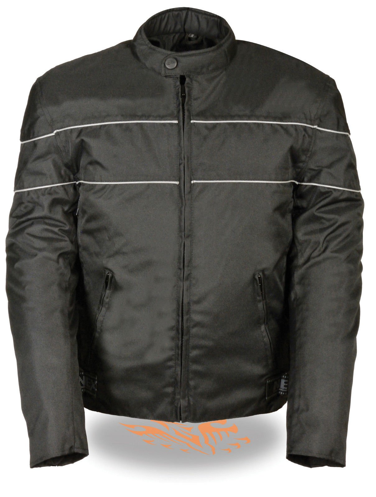 Nexgen MEN'S MOTORCYCLE SCOOTER VENTED TEXTILE JACKET W/REFLECTIVE PIPING GUN POCKET (10XL Reflective Black)