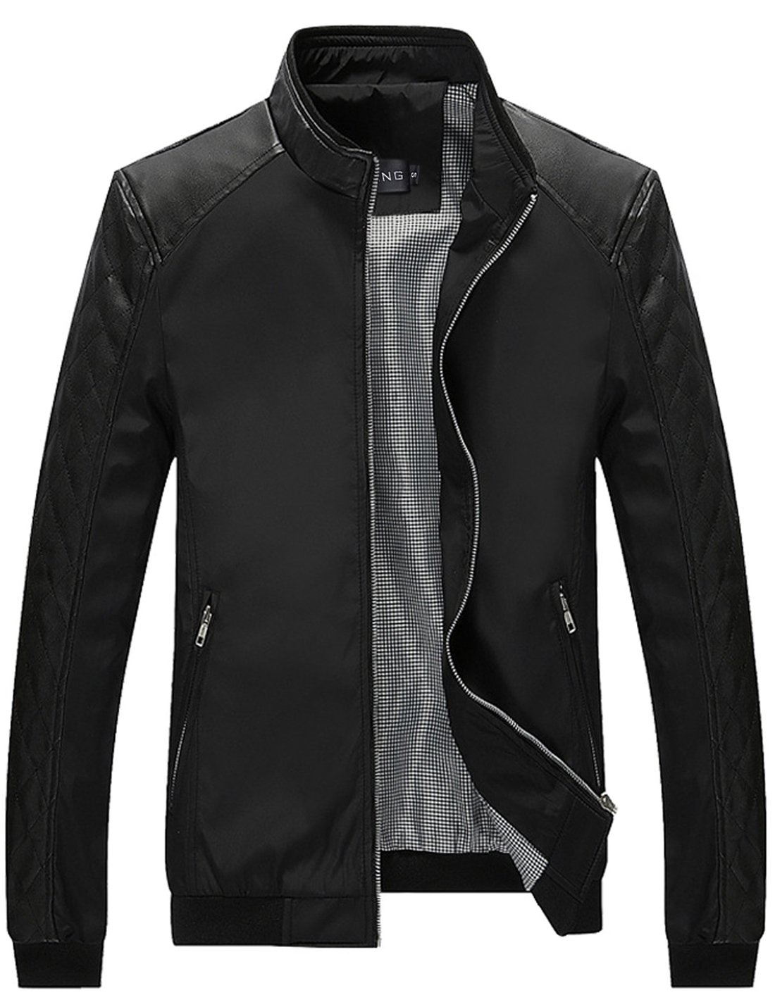 Tanming Men's Color Block Slim Casual Thin Lightweight Jacket (Small, Black) by Tanming
