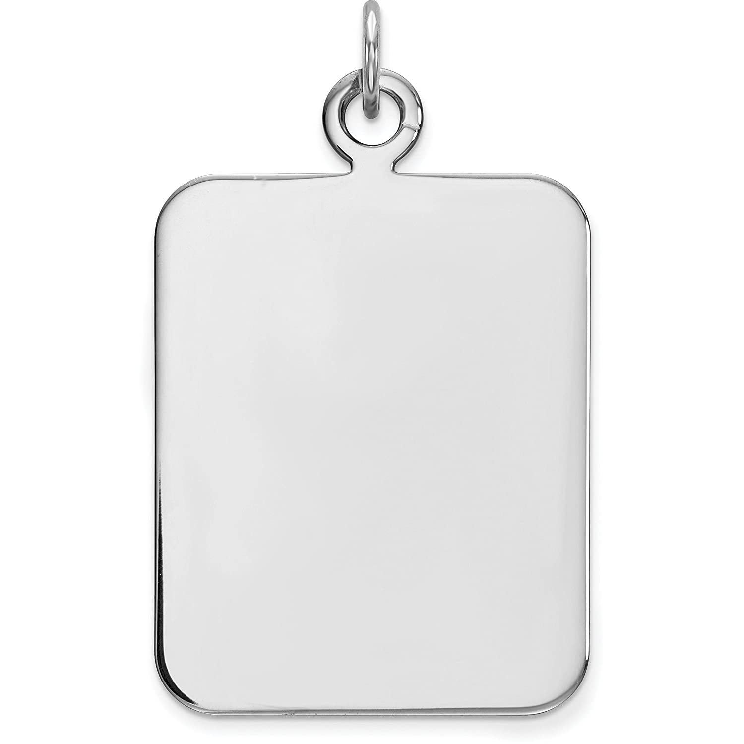 Sterling Silver Disc Rectangle Charm 0.035 19.3mm