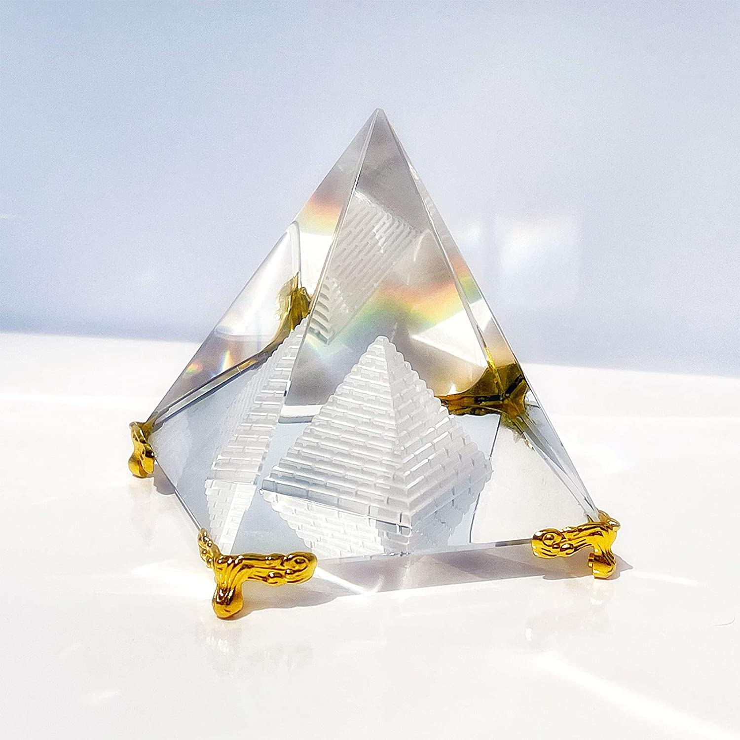 Crystal Pyramid Prism, Feng Shui Crafts Meditation Crystal with Gold Stand for Home Office Art Decor, Pyramids Gift, Stand for Prosperity, Positive Energy and Good Luck(3.15inch/80mm)