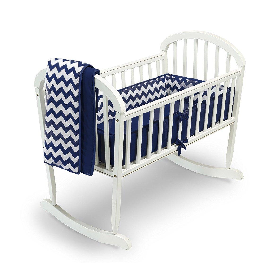Babykidsbargains Chevron Cradle Bedding, Navy, 18'' x 36''