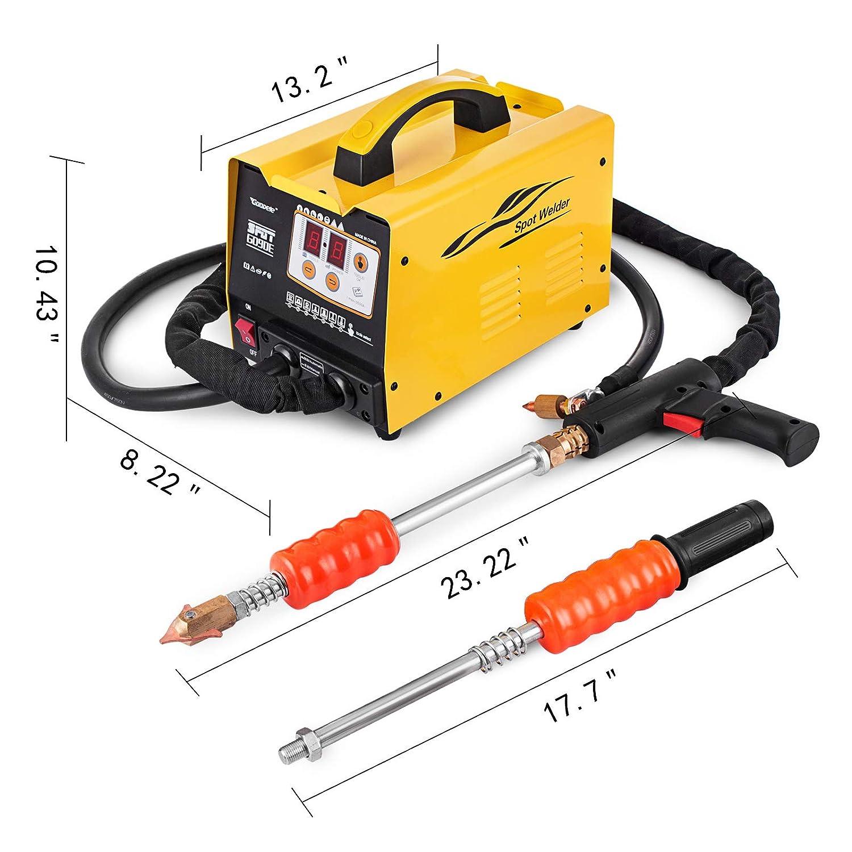 Bestauto Uni-Spotter Stud Dent Welder Kit 1600A Stud Welder Kit 110 V Car Dent Puller with Muti-Hook Weld Meson Pads for Car