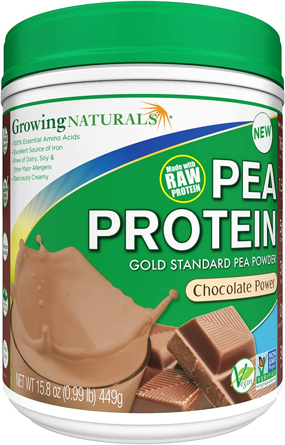 Growing Naturals | Plant Based Protein, Gold Standard Raw Pea Protein Powder | Chocolate Power | Non-GMO, Vegan, Gluten-Free, Keto Friendly, Shelf-Stable | 1LB