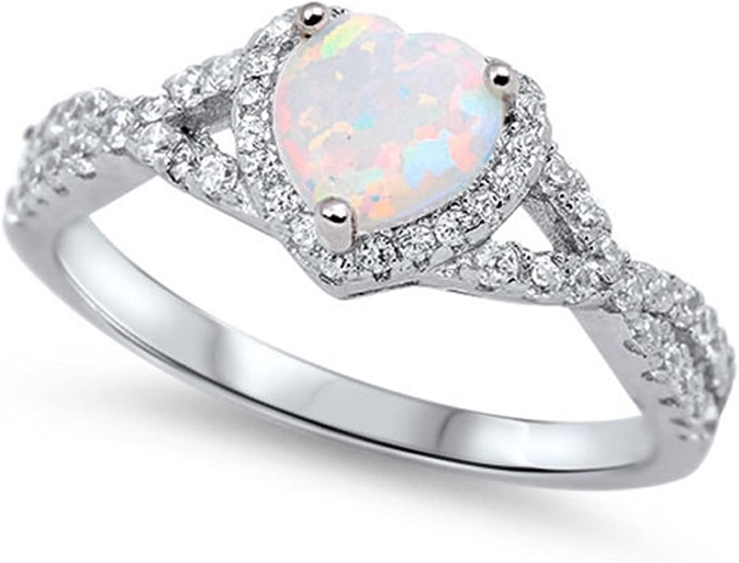 Blue Apple Co. 925 Sterling Silver Infinity Shank Halo Promise Ring Heart Shape Lab White Created Opal Round Clear CZ