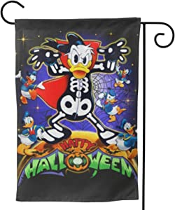 """Criss Garden Flag,Donald Duck Happy Halloween Double Sided Outdoor Flag House Banner for Yard Home Decor 28""""X40"""" Inch Outdoor Deco"""