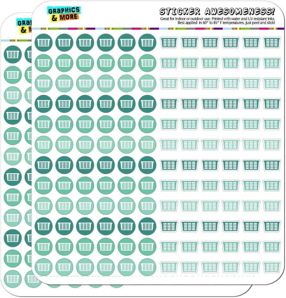 Laundry Basket Dots Planner Calendar Scrapbooking Crafting Stickers - Teal - Clear