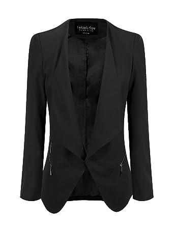 5a8e3cab034d LookbookStore Women s Black Open Front Side Zip Draped Padded Asymmetric  Suit Blazer ...
