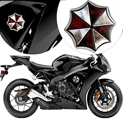 YSpring Resident Evil Logo Umbrella Corporation Badge Decal 3.35in dia Decorative Emblem Metal Sticker for Auto Motorcycles(Style D2-3.35in-1 pcs): Automotive
