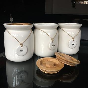 Large tea coffee sugar ceramic canisters rope labels kitchen storage jars set