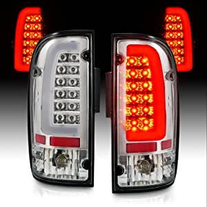AmeriLite for 1995-2000 Toyota Tacoma C-Type LED Tube Crystal Chrome Replacement Tail Light - Driver and Passenger Side