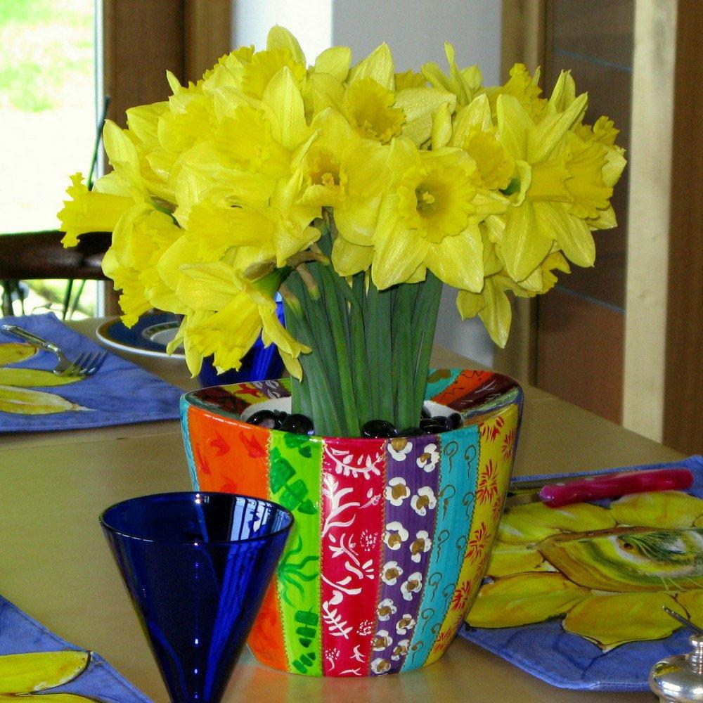 Regalo de Pascua idea de un sofisticado porcelana pintada a mano sembradora o máscara de Subred para plantas o flores, Rayas regalo de lujo caja para ...