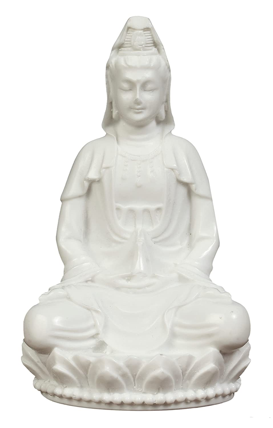 3in Guan Yin Statue Small. Poly Marble with White Marble Finish. Premium Quality Quan Yin Statue. Buddhist Avalokiteshvara Kuanyin/Quanyin Buddhism Statue on Lotus (Marble White). Kuan yin Statue.
