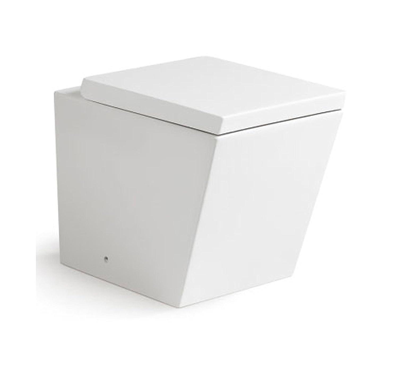 Import For Me Sanitari Bagno Square Filo Parete in Ceramica WC e Tavoletta di Design