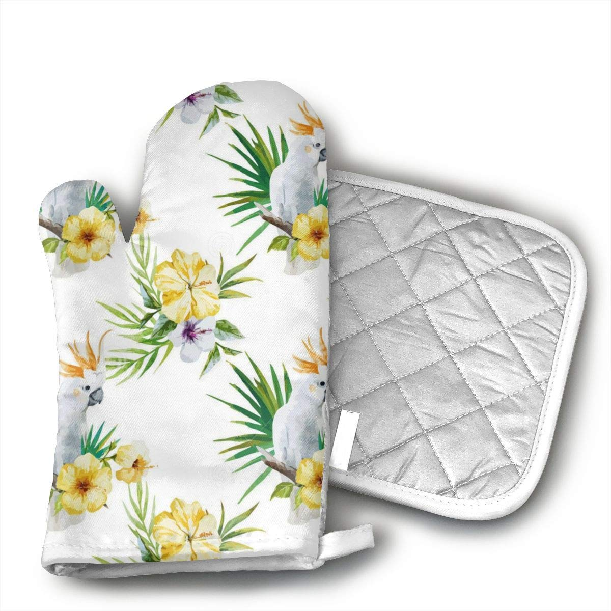 White Parrot Oven Mitts and Pot Holders Kitchen Mitten Cooking Gloves,Cooking, Baking, BBQ.