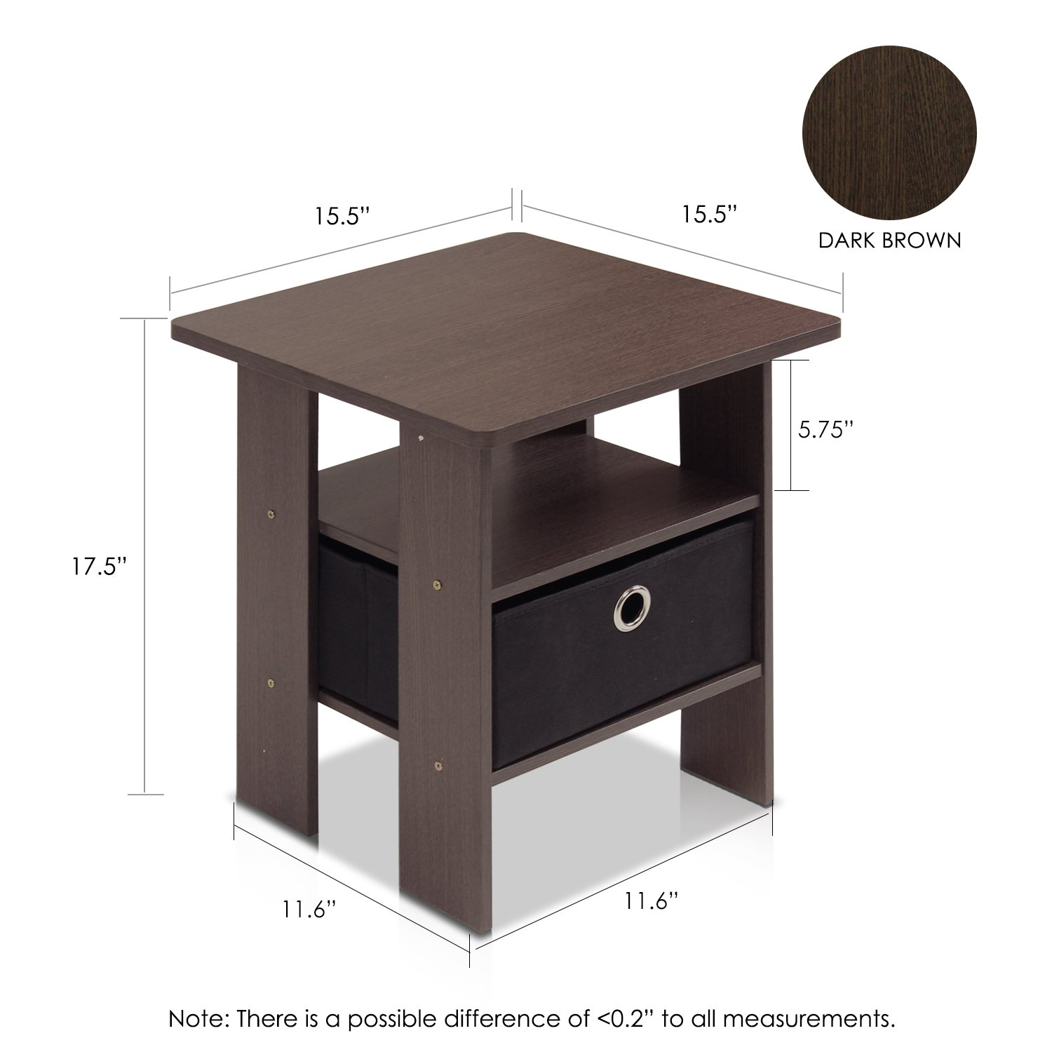 Amazon.com: Furinno 11157DBR/BK End Table Bedroom Night Stand W/Bin Drawer,  Dark Brown/Black: Kitchen U0026 Dining