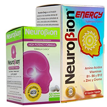 Neurobion energy + Neurobion high potency dietary supplement special blend of amino acids, vitamins b1