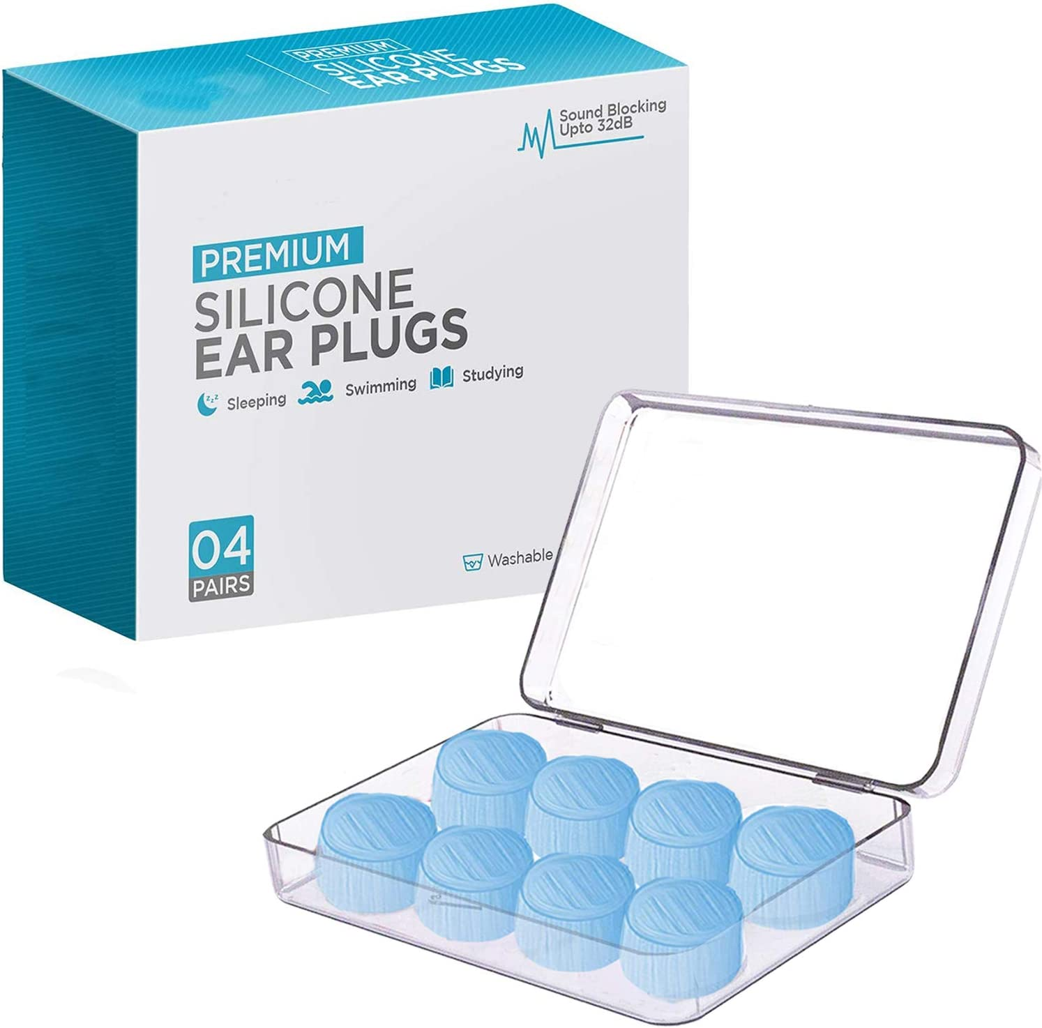 Soft Silicone Earplugs Reusable Ear Plugs Sleep Swimming Work Noise Nice a!