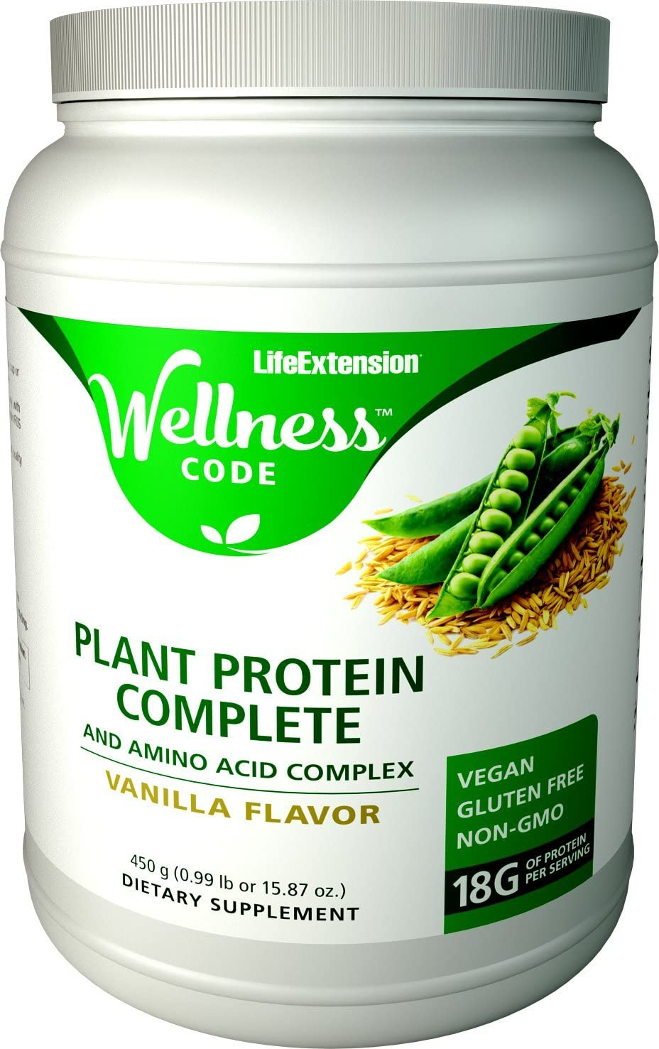 Life Extension Plant Protein Complete and Amino Acid Complex, Vanilla Flavor, 450 Grams 0.99 pounds or 15.87 Ounces