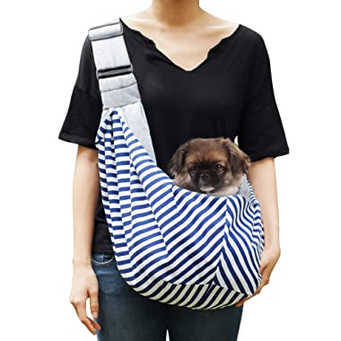 Timetuu Pet Sling Carrier for Small Dogs or Cats: Reversible Hands-Free Puppy Tote Bag with Adjustable Strap, Pocket and Bonus Carry Bag, Up to 12 Lbs