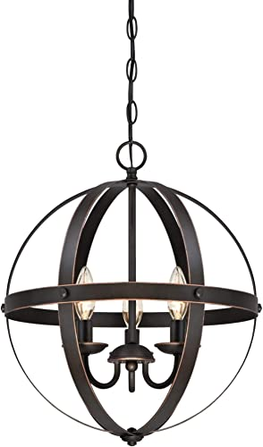 Westinghouse Lighting 6341800 Stella Mira Three-Light Pendant, Oil Rubbed Bronze Finish with Highlights, w Renewed