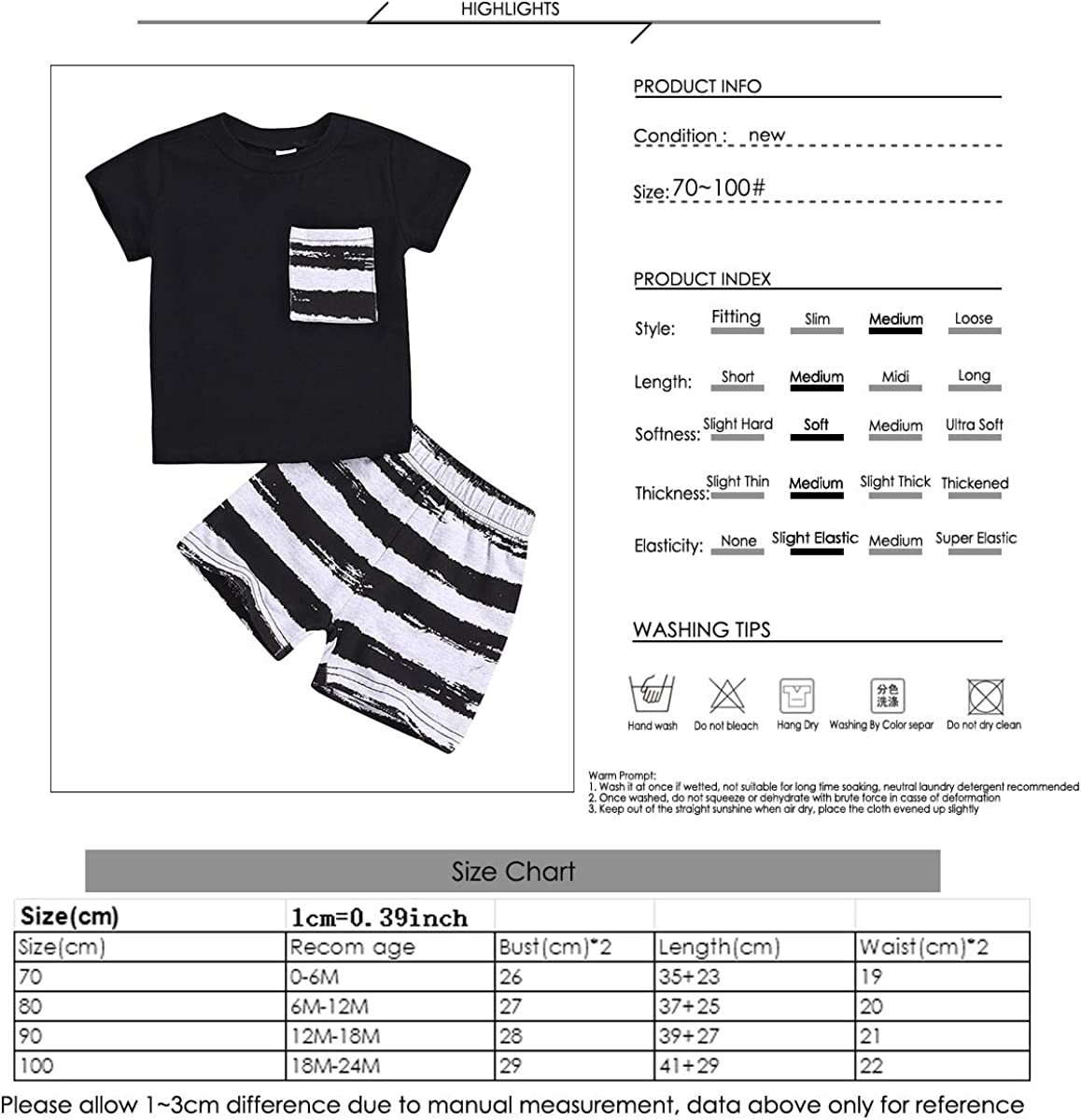 Baby Boy Outfit Suit Short Sleeve Top T-Shirt Striped Shorts Pants Clothing