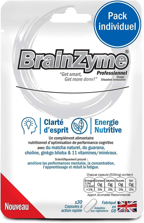 BrainZyme Professionnel - Stimulant Naturel (Dopamine) : Cerveau et Métabolisme Optimisé - Concentration + Productivité. Ginkgo, Guarana, L-Théanine, L-Tyrosine, Vitamine, Nootropique (1 paquet).