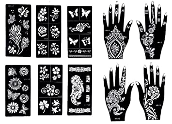 51bc19340 Gilded Girl Reusable Stencils for Henna Tattoo (10 Sheets) Beautiful Hands  and Body Art