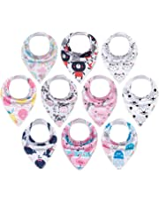 ALVABABY Baby Drool Bandana Bibs For Drooling Teething Feeding Super Absorbent 100% Cotton,Unisex Boys Girls Baby Gifts 10 Pack 10SD10