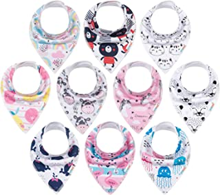 ALVABABY Bandana Drool Bibs Super Absorbent Adjustable Resuable for Boys and Girls 8 PCS Pack of Baby Gift Settings 8SD23-CA