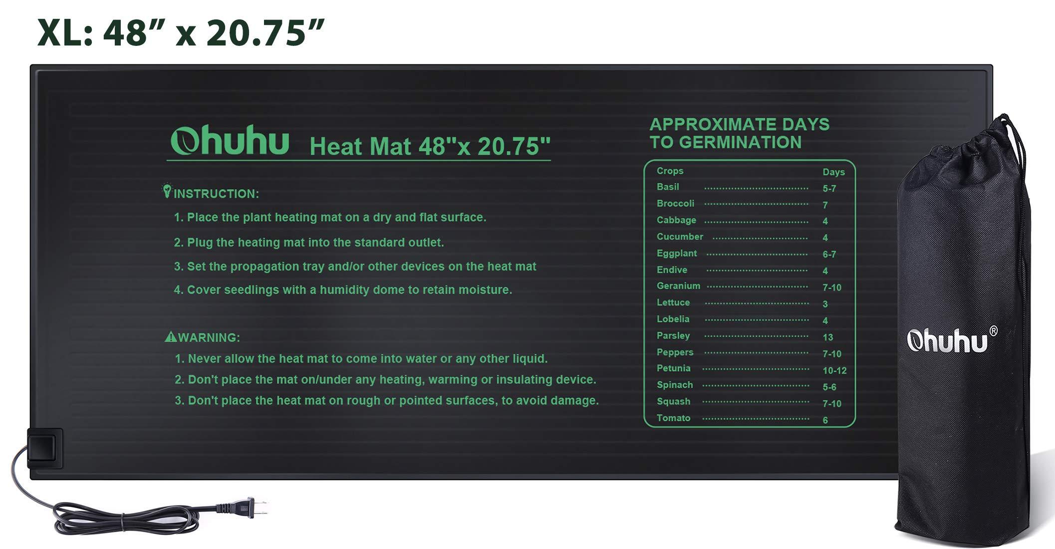 Ohuhu Plant Heating Pad, IP67 Waterproof Plant Warming Mat, MET Standard 18W Hydroponic Heating Mat for Indoor Seedling and Germination, 48'' x 20.75'', Bonus A Storage Bag