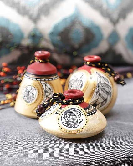 Buy Vareesha Simmer Gold Terracotta Pots Set Hand Painted Using