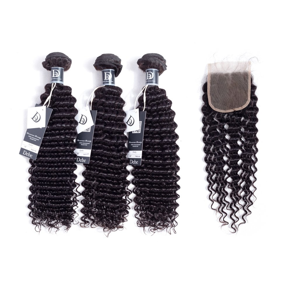 Debe Hair Deep Curly Brazilian Hair 3 Bundles with Closure Free Part 4x4 8a Hair Weave Extensions 100% Unprocessed Virgin Hair Lace Closure Baby Hair (18 20 22+16 closure)