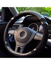 BOKIN Steering Wheel Cover Microfiber Leather and Viscose, Breathable, Anti-Slip, Odorless, Warm in Winter and Cool in Summer, Universal 15 Inches(Black)
