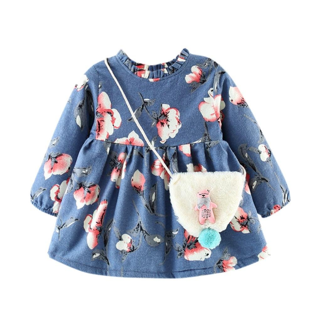 Sunbona Toddler Baby Girls Princess Floral Warm Winter Long Sleeve Dress Casual Party Outfits Cloths