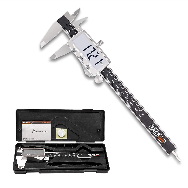 Pie de Rey, Tacklife DC02 Calibre Digital 150mm/6Pulgadas de Acero Inoxidable con Gran Pantalla LCD, Profesional Medición de Diámetro Interior, Exterior, Profundidad y Escalera Calibrador Micrómetro
