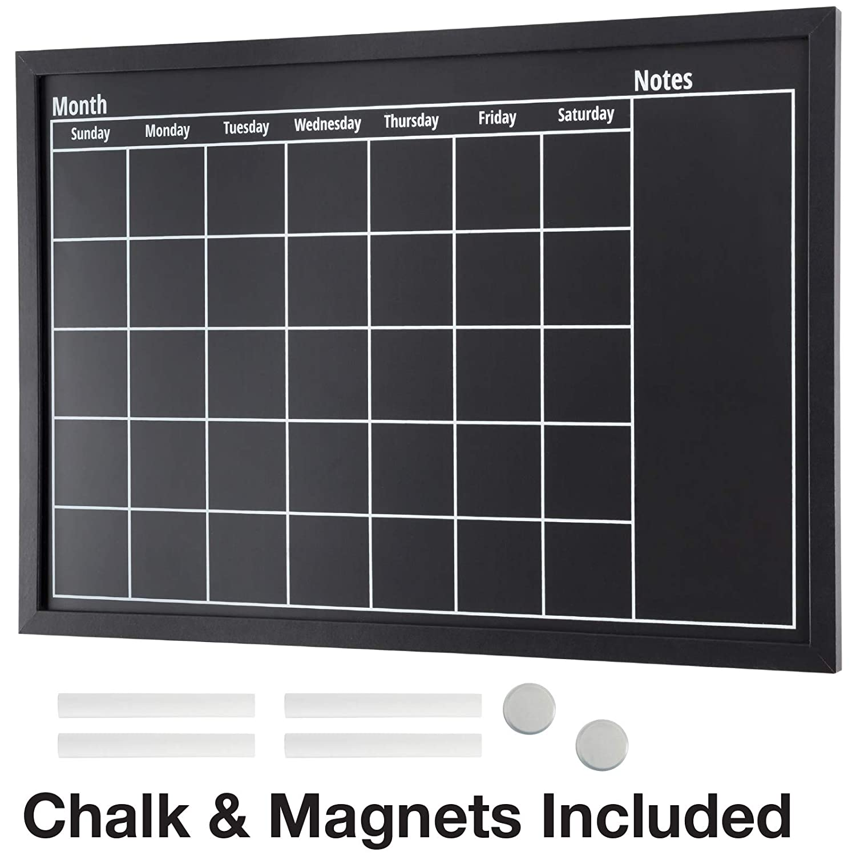 "Framed Calendar Chalkboard: Includes Chalk & Magnets/Chalk Board Size 23.5""x15"" / Wall Calendar/Wall Decor/Home Decor/Blackboard"