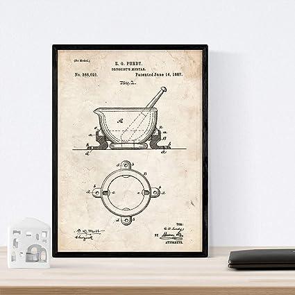 Nacnic Poster con Patente de Mortero de Farmacia. Lámina con diseño de Patente Antigua en tamaño A3 y con Fondo Vintage: Amazon.es: Hogar