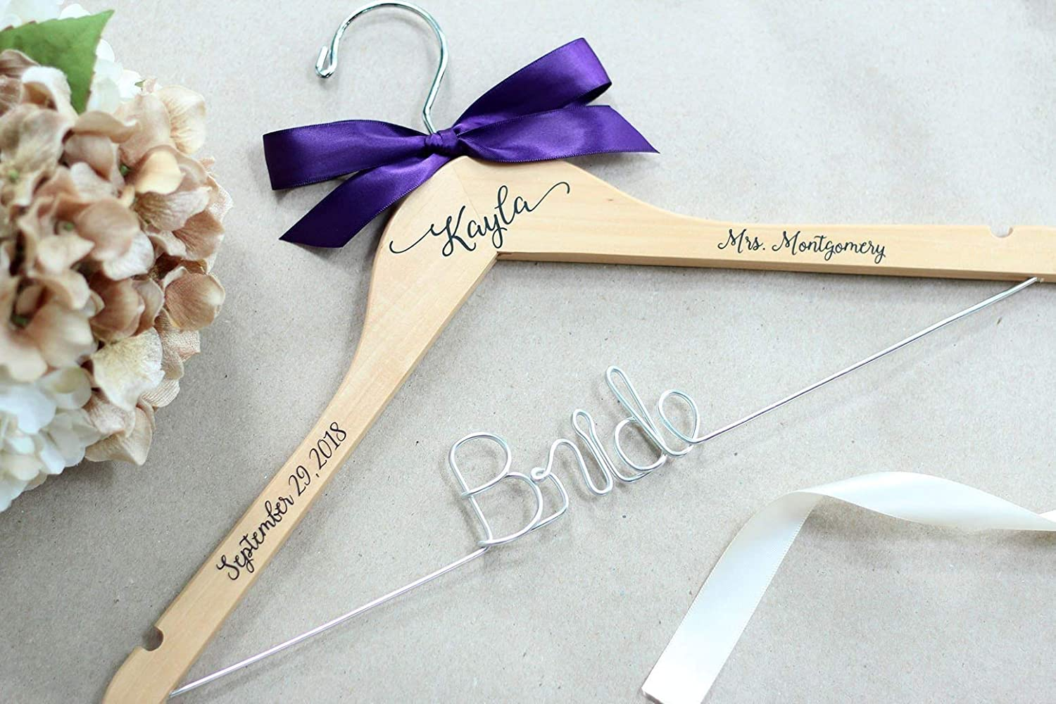 Personalized Wire and Decal Bridal Hanger, Bridesmaid Hangers, Bride  Hanger, Mrs Hanger, Wedding Hangers, Custom Vinyl Title Hangers