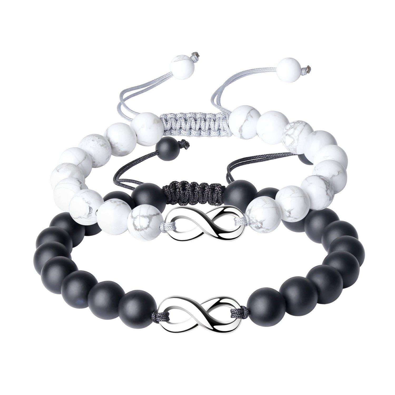 COAI Infinity Charm Yin Yang Howlite Onyx Couple Stone Bracelets by COAI