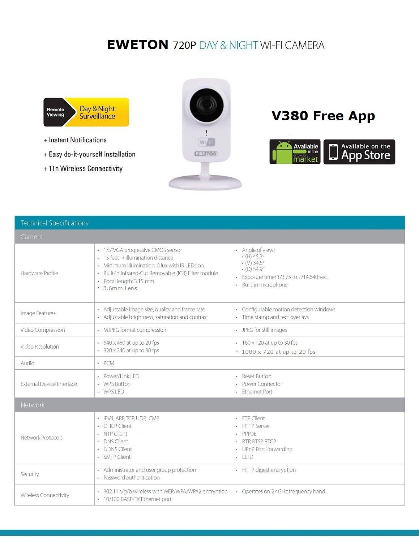 EWETON ProHD 1280x720P MegaPixel Wireless Camera,Wifi Baby