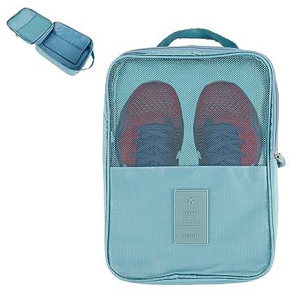 SurfMall Bolsas para Zapatos de Viaje - La Bolsa Impermeable para Guardar Zapatos Tiene Capacidad para 3 Pares de Zapatos Azul Rojo (Azul Claro)