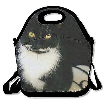 shzfs Luc almuerzo Bolsas Negro y gato blanco bolsa de organizador de almuerzo Custom alimentos almuerzo de impresión bolso de mano soporte para bolsa para ...