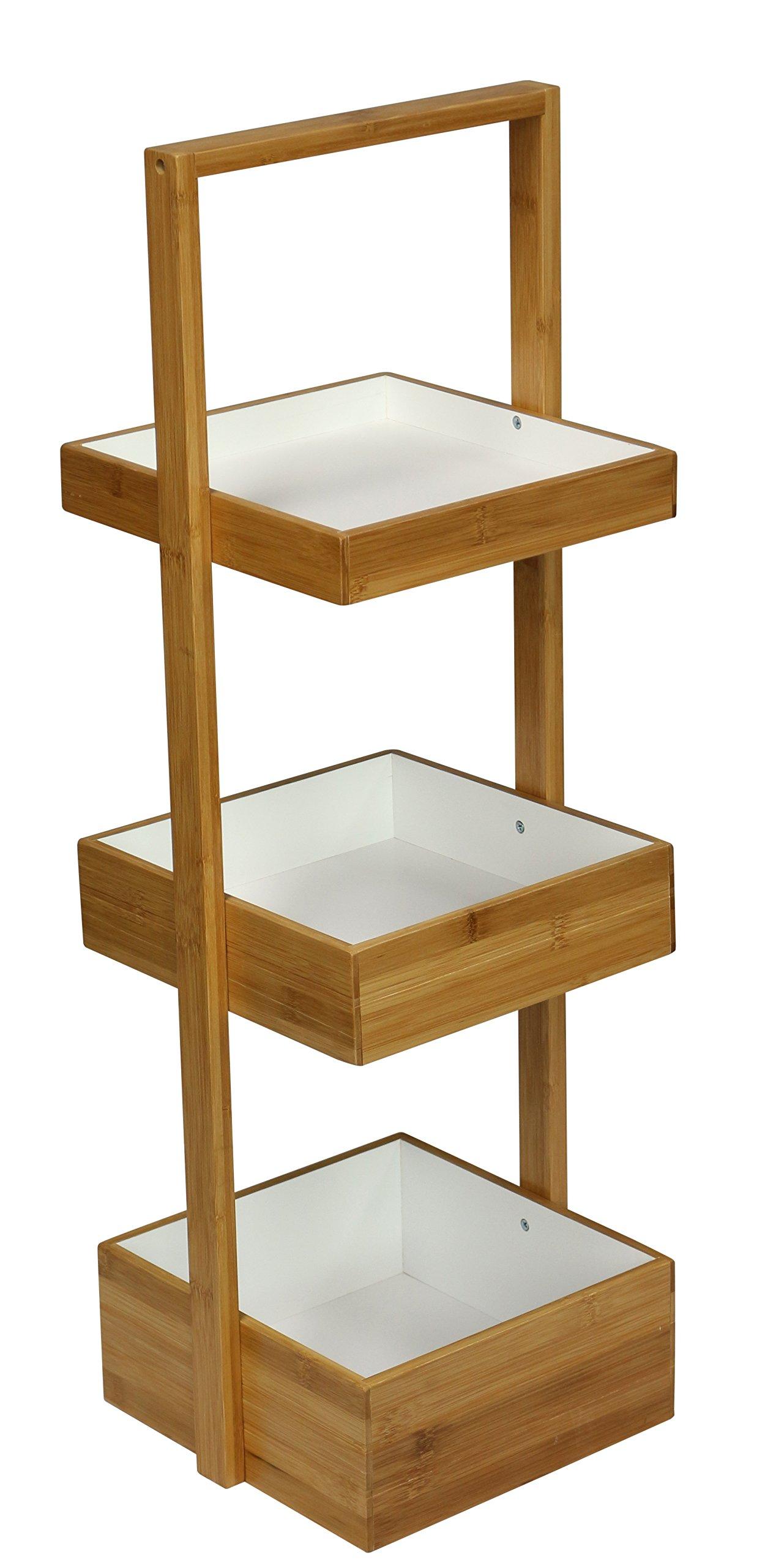 eHemco 3 Tier Bamboo Multi Purpose Shelf,Storage,Organizer Natural & White …