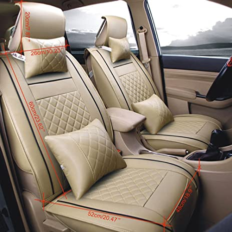 TBvechi Full Set PU Leather Deluxe Automotive Car Seat Covers Cushions Front Rear Universal Fit