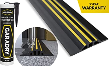 Garadry 1 High Garage Door Threshold Seal Kit 8 3 Black Yellow Vinyl Complete Kit Includes Adhesive Amazon Com