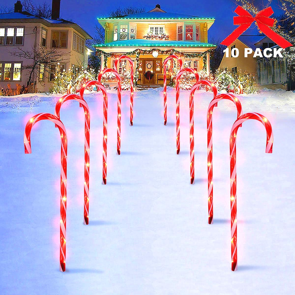 MAOYUE Candy Cane Lights, 10 Pack Outdoor Lighted Candy Canes 27in Christmas Pathway Lights with 8 Lighting Modes, Waterproof Candy Cane Decorations, Light Up Outdoor Christmas Decorations by MAOYUE