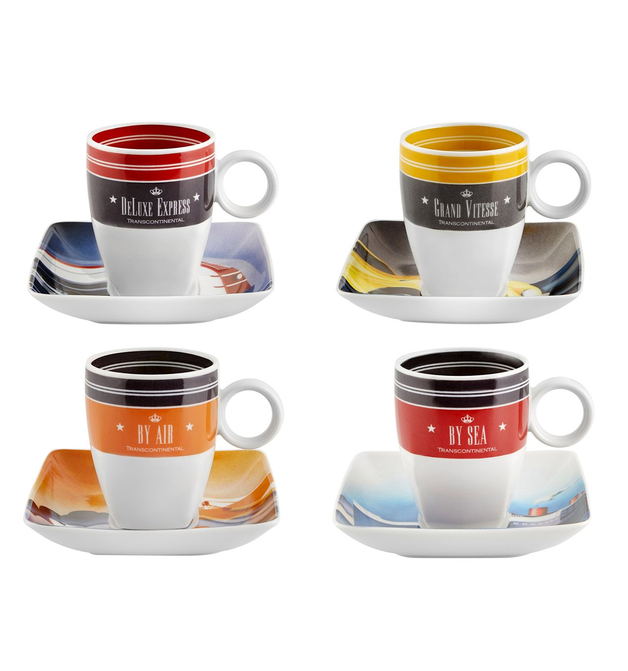 VISTA ALEGRE - Transcontinental (Ref # 21122115) Porcelain Set of 4 Espresso Coffee Cups & Saucers by Unknown