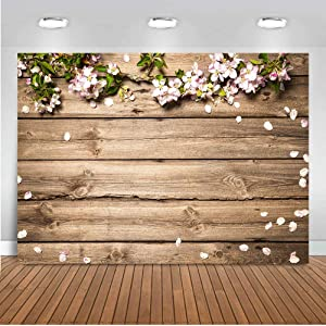 Fanghui 7x5ft Rustic Wood Flowers Photography Backdrop Floral Wooden Texture Board Floor Wall Background Bridal Shower Newborn Brithday Party Banner Supplies Photo Booth Props