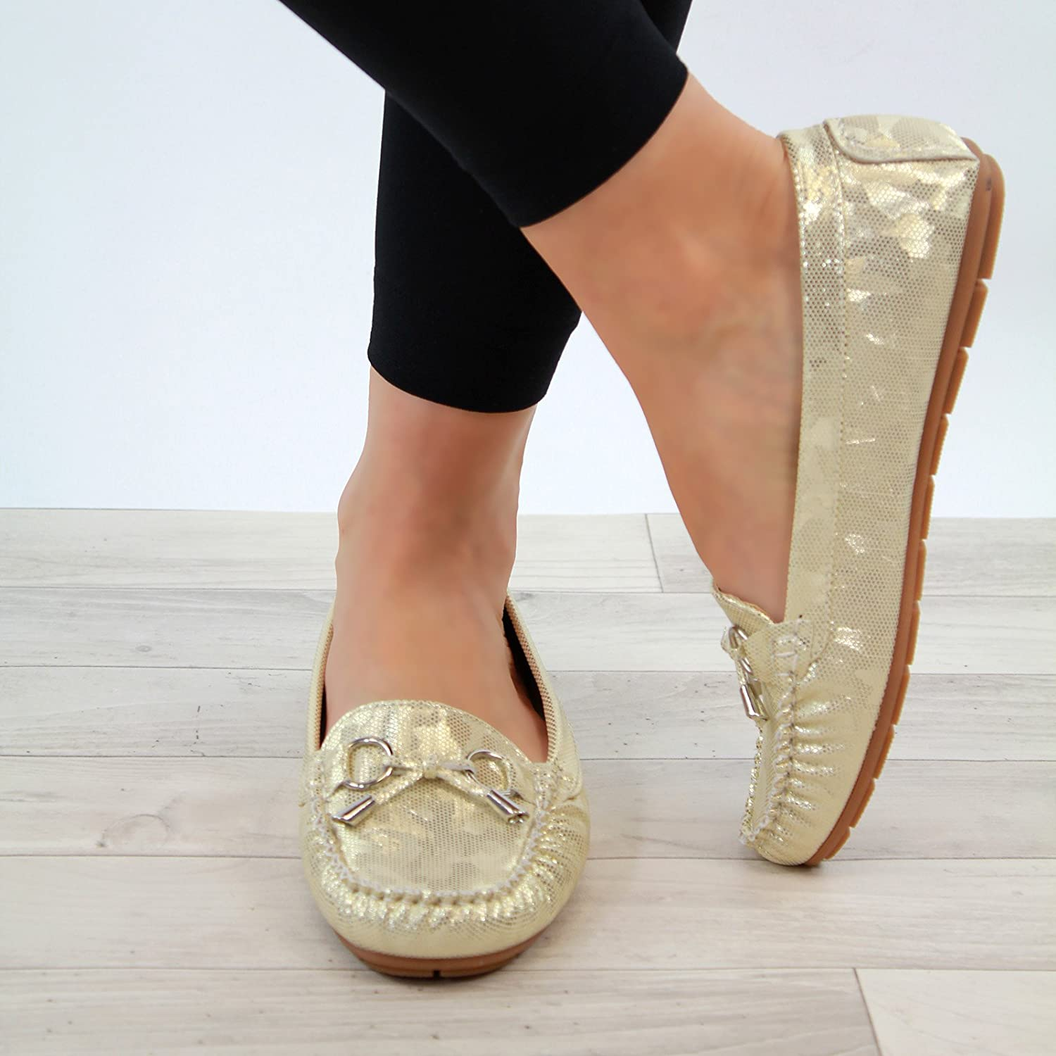 Larena Fashion New Womens Casual Loafers Flat Metallic Comfort Work Slip On Pumps  Shoes: Amazon.co.uk: Shoes & Bags