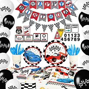 WERNNSAI Racing Car Party Supplies Set - Birthday Party Decorations for Boys Banner Balloons Tablecloth Plates Cups Napkins Cupcake Toppers Tableware Utensils Serves 16 Guests 204 PCS